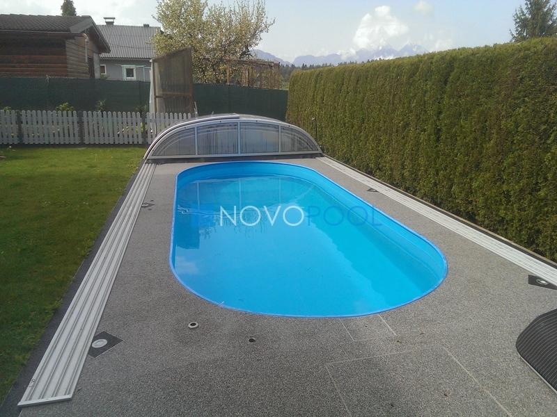 pool abdeckung novopool.de elegant uberdachung pooluberdachung poolcover transparent
